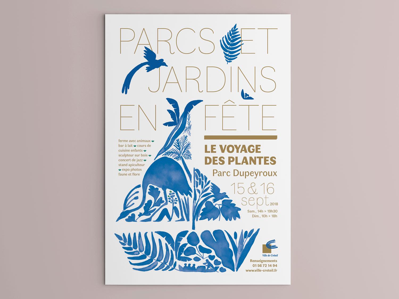 Conception d'une affiche pour Parcs et jardins en fête 2018. Ville de Créteil.