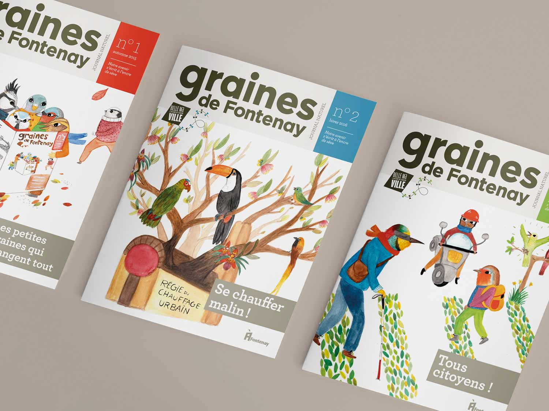 Conception graphique et mis en page de la revue graines de Fontenay